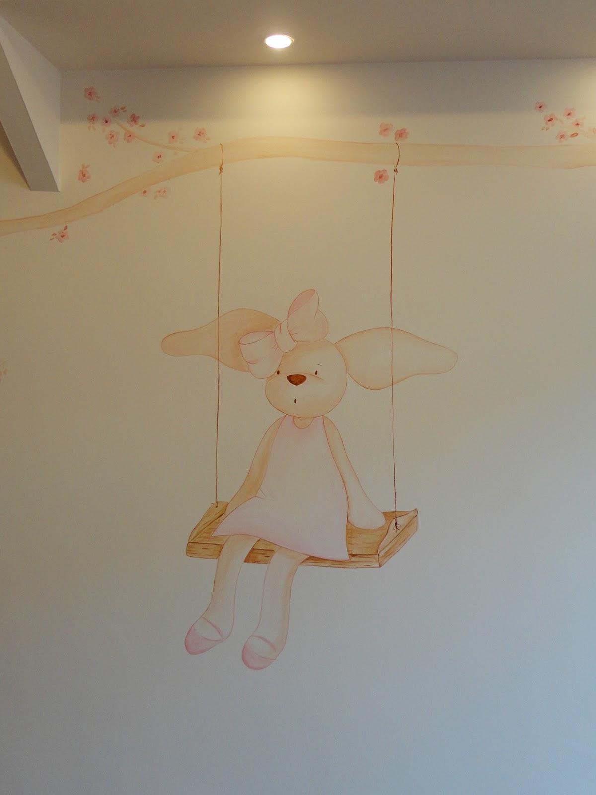 Decopared mural conejita en columpio - Mural pared infantil ...