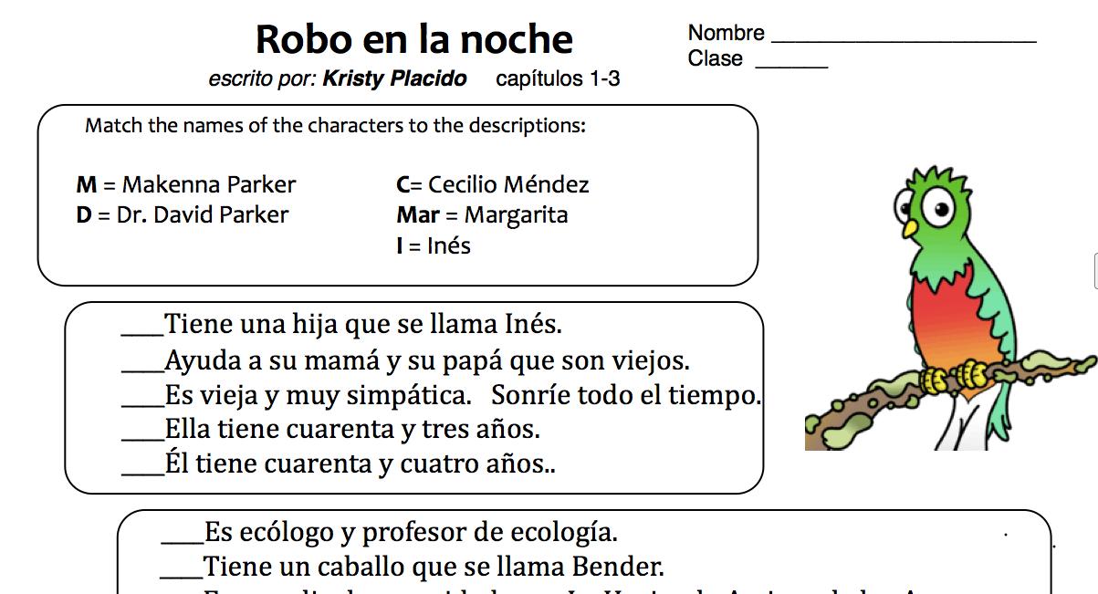 teaching spanish w comprehensible input robo en la noche