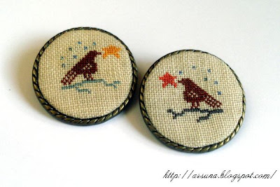 cross stitch brooch
