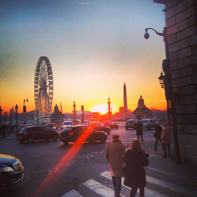 Paris Place de la Concorde sunset ferris wheel