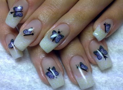 blue+butterfly+nail+art+ideas  shiny effect perfect manicure nails design modern look manicure in blue decorated nails blue varnish Blue nails design blue nails beautiful manicure amazing varnish