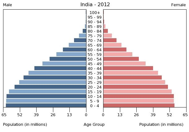 India's population pyramid, 2012