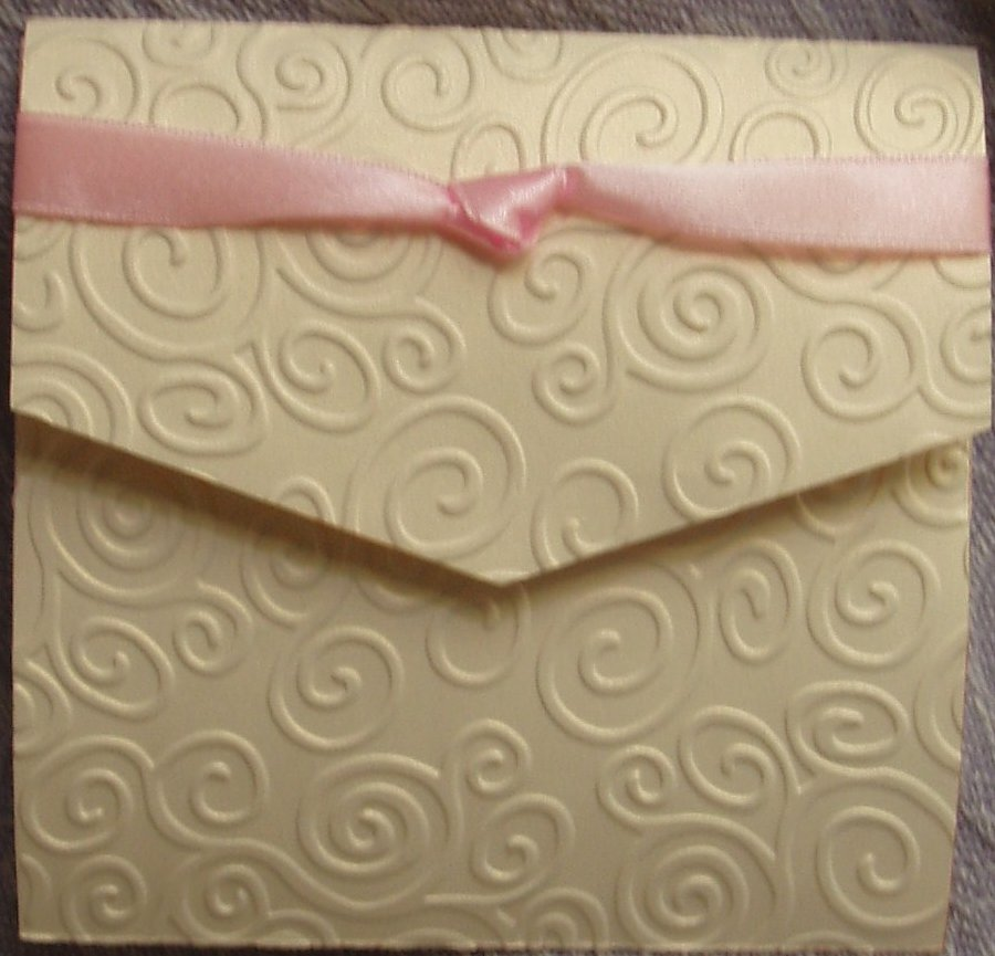 Elegant Swirls Embossed Pocket Fold Wedding invitations