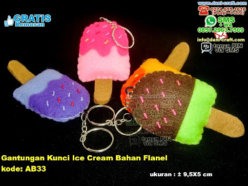 Gantungan Kunci Ice Cream Bahan Flanel Flanel