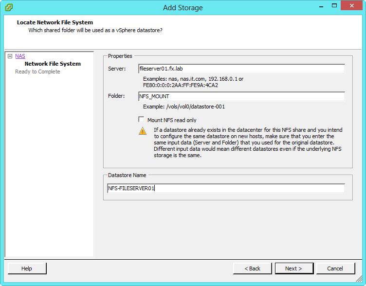 Enter The Information Of Nfs Server