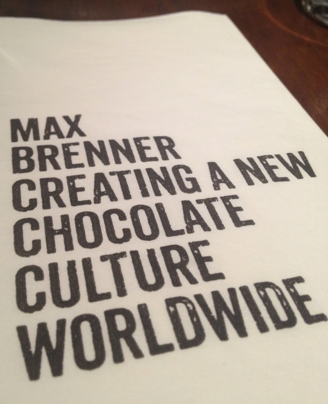 max brenner, max brenner las vegas, chocolate by the bald man, places to eat in las vegas, places to eat in vegas, max brenner napkin, napkin