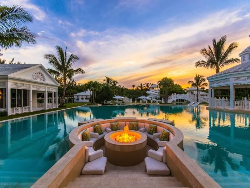 Outdoor fireplace in Custom built celebrity home for Celine Dion