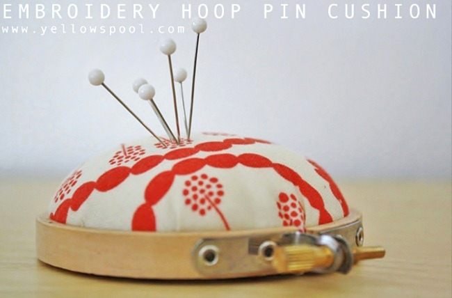 this cute embroidery hoop pincushion is adorable and functional