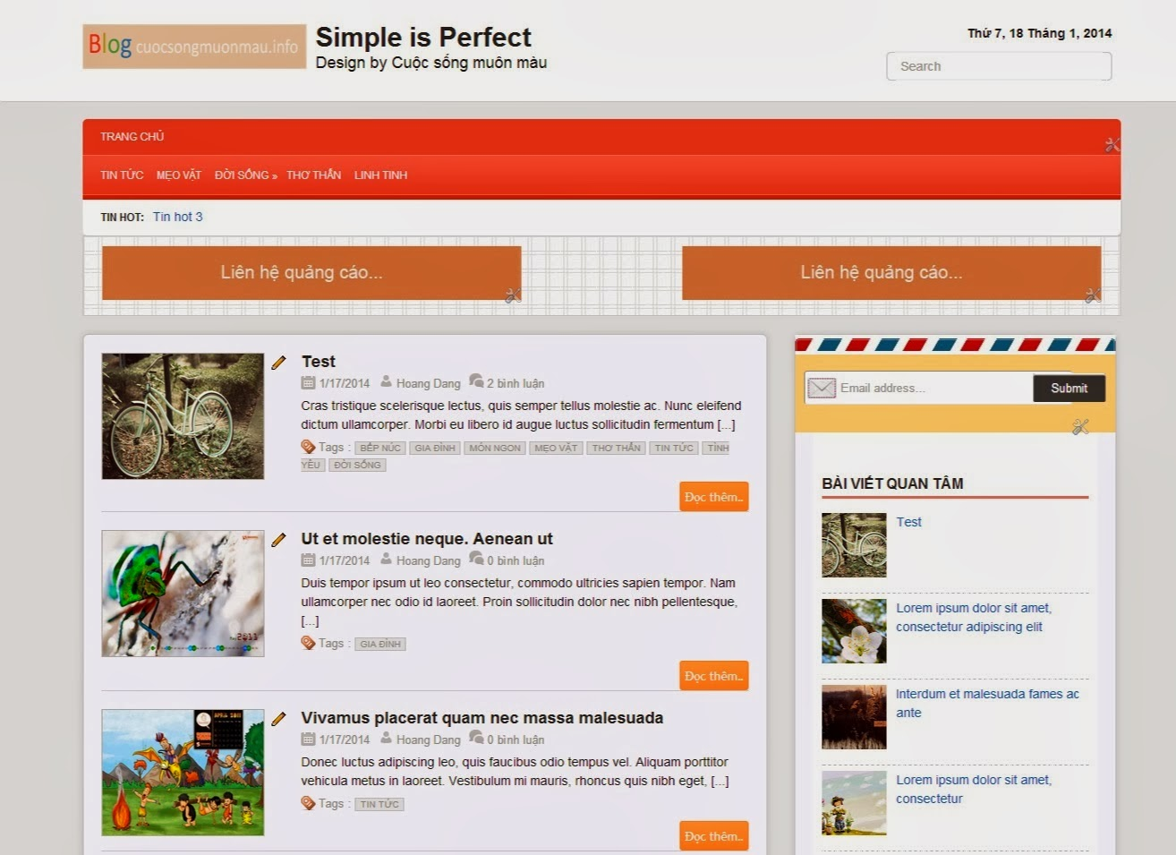 Simple is Perfect - Template blogspot Responsive chuẩn Seo