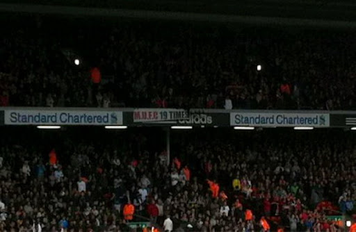 Manchester United fans unfurl '19 Times' banner during Liverpool vs Tottenham game