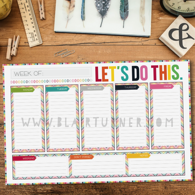 Colorful Chevron Desktop Weekly Calendar Pad