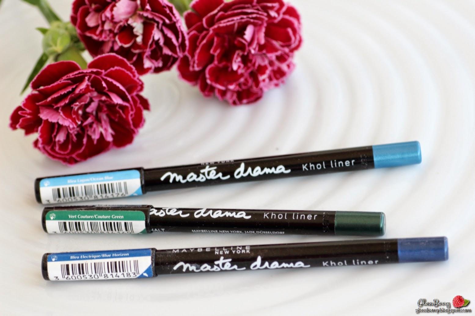 maybelline master drama eyeliner kohl liner review swatches סקירה עפרונות עיניים של מייבילין כחול ירוק blue green תכלת glossberry גלוסברי