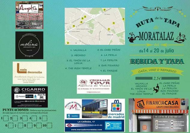 CARTEL RUTA DE LA TAPA  DE MORATALAZ DEL DÍA 14 AL 20 DE JULIO DE 2014