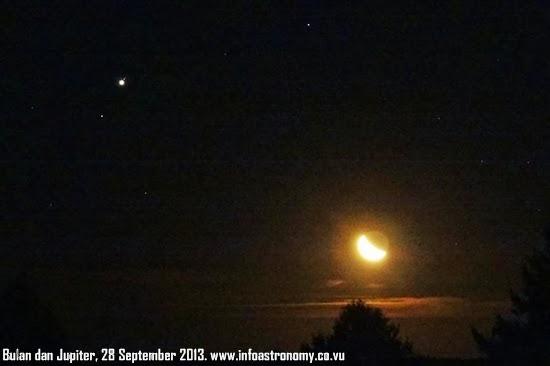 Foto: Dekatnya Bulan dan Jupiter 28 September 2013