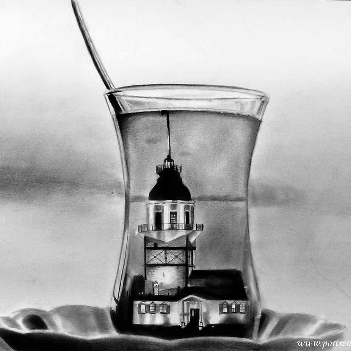 Çaybardağı ve kız kulesi karakalem çalışması