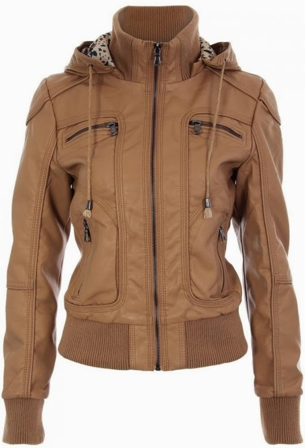 Stunning tan faux leather hoodie jacket with leopard print lining