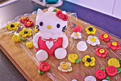 hello kitty, sugar paste figurine, birthday cake