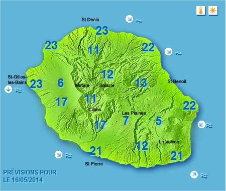Prévisions météo Réunion pour le Vendredi 16/05/14