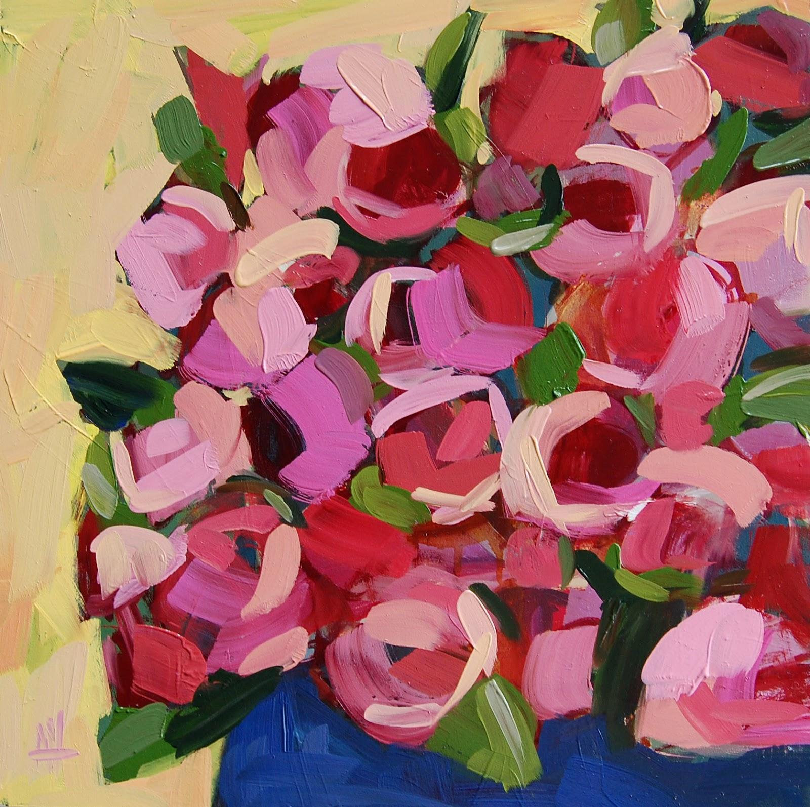 Pink roses in blue vase painting angela moultons painting a day pink roses in blue vase painting reviewsmspy