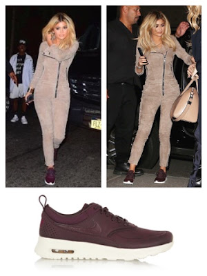 Celebrity Kylie Jenner in Nike Air Max Thea Premium in Mahogany Team Red