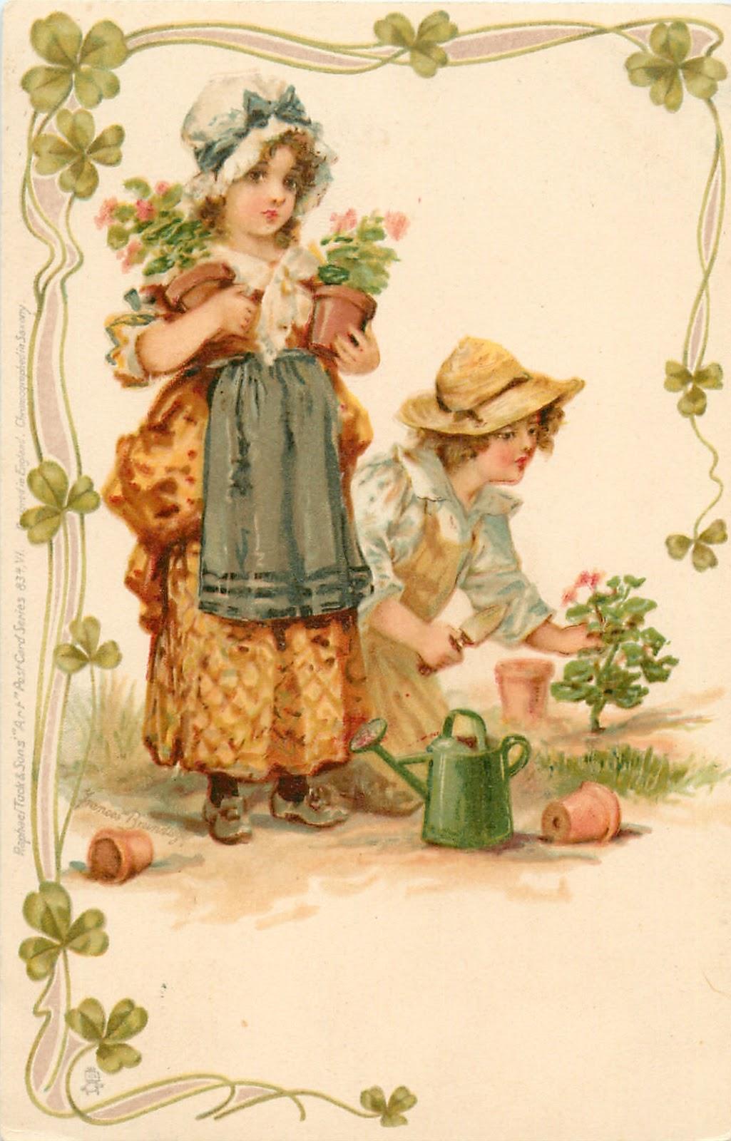 Открытка старинная мальчик и девочка