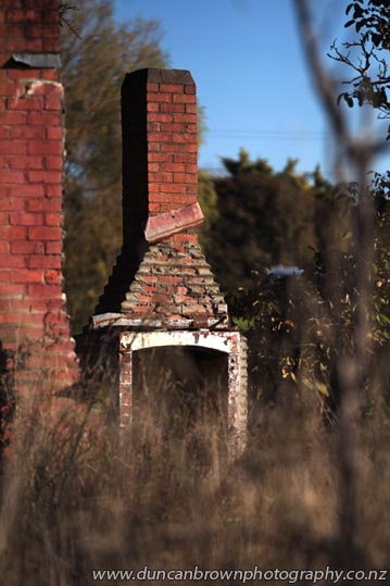 Sentinels still standing - forgotten chimneys on Mahia Ave, Wairoa photograph
