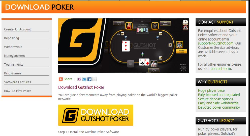 Gutshot poker term