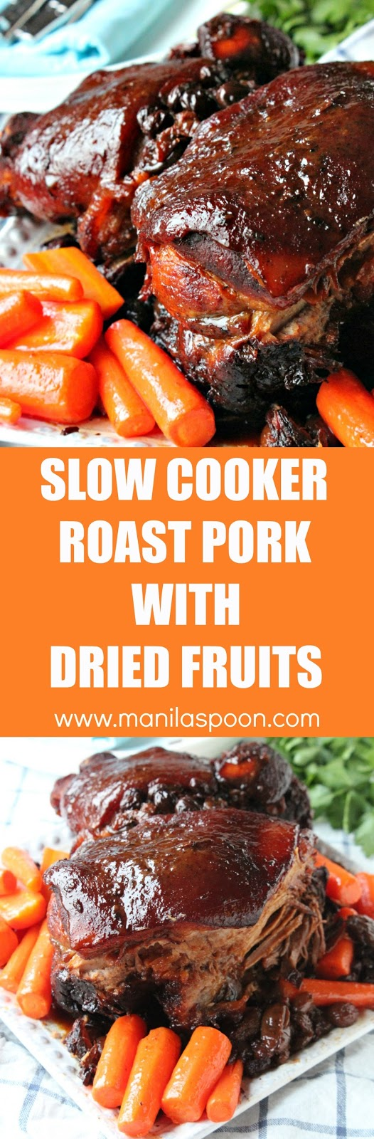 Melt-in-your-mouth, moist and delicious Slow Cooker Roast Pork with Dried Fruits that you'll make over and over again. Use a different variety of fruits - dried giant raisins, apricot, plums, cherries, etc. It's your choice. | manilaspoon.com