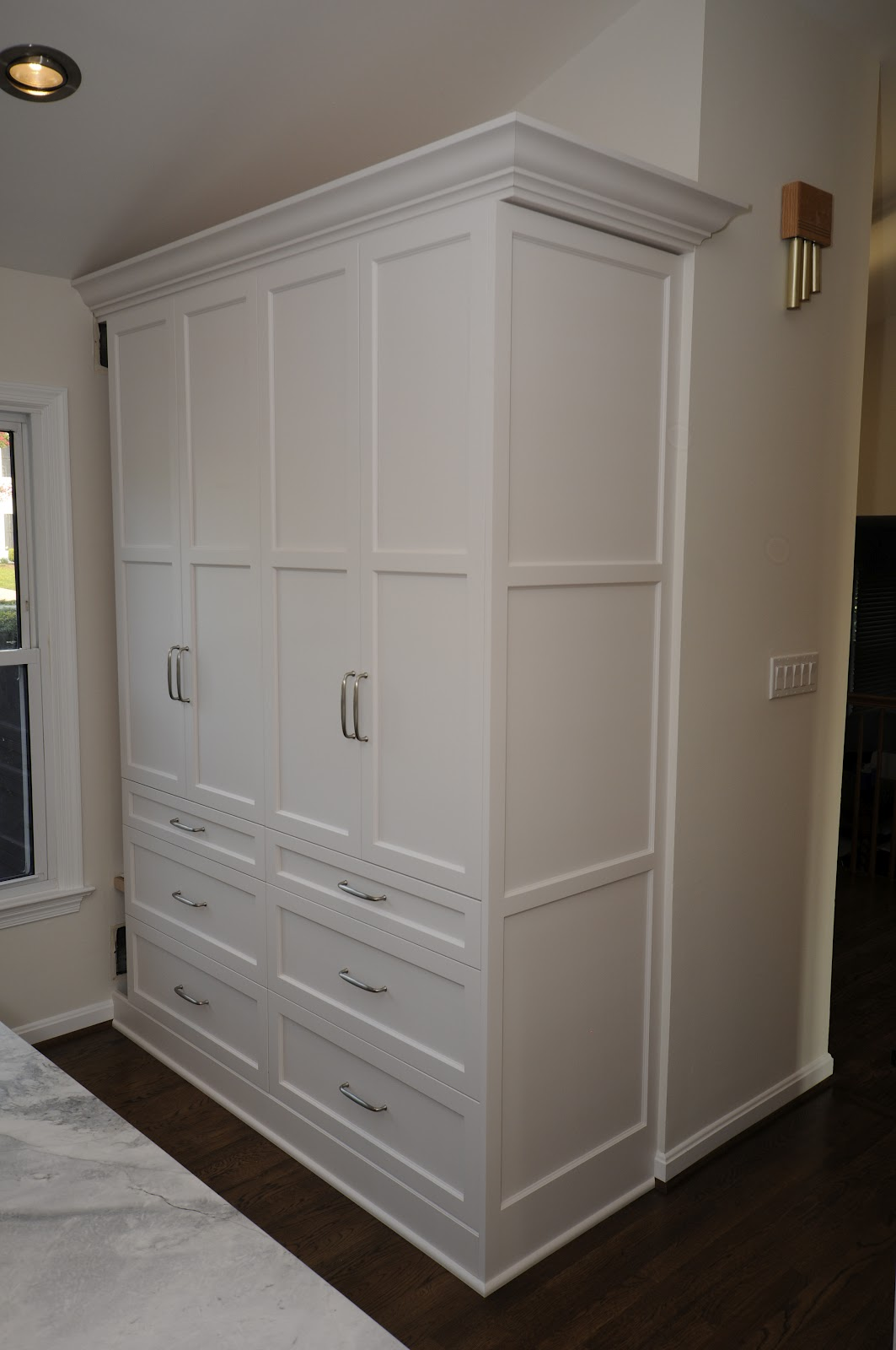 Cherry hill cabinetry soapstone and white painted for Cupboard cabinet