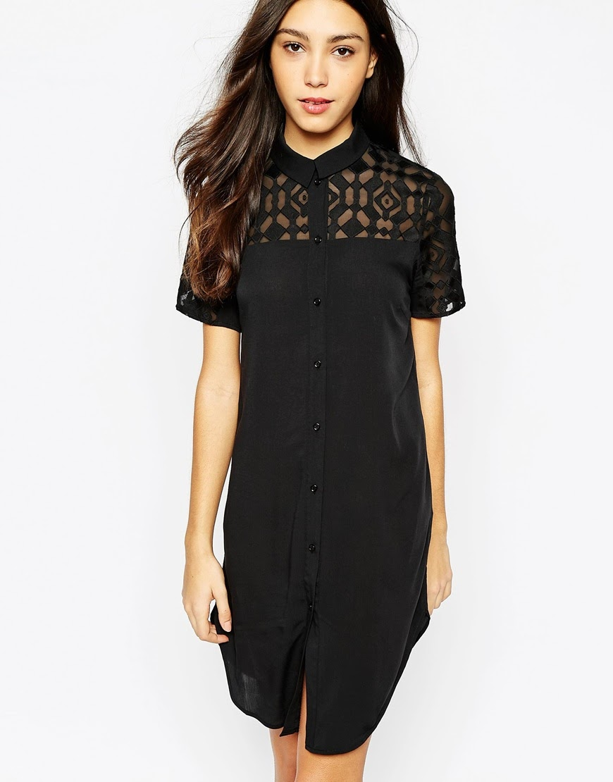 vero moda black shirt dress, black sheer shirt dress,