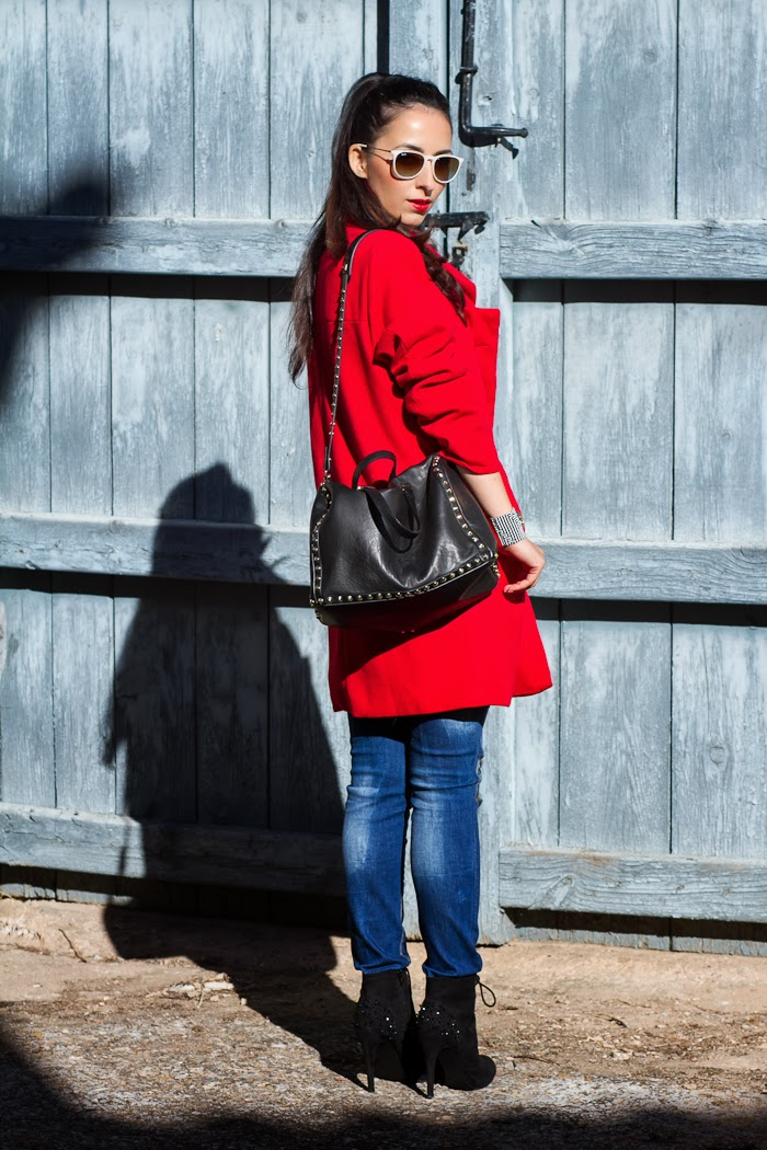 Outfit with Red Coat and distressed jeans