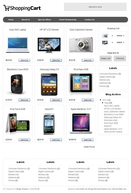 Templates E-comerce para Blogger Shopping cart