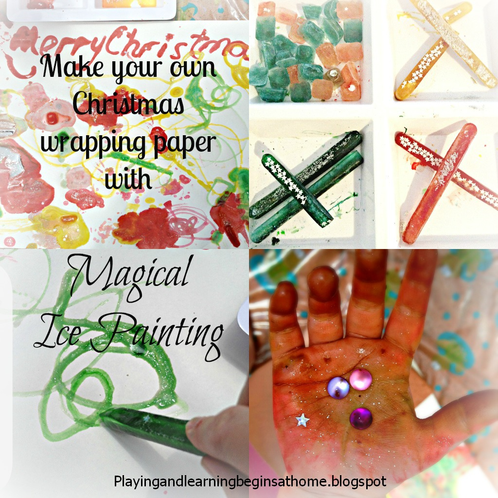... Christmas Wrapping Paper. Miss M Loves Ice Painting And We Have Done It  A Variety Of Different Ways Such As Using It To Experiment With Colour  Mixing, ...