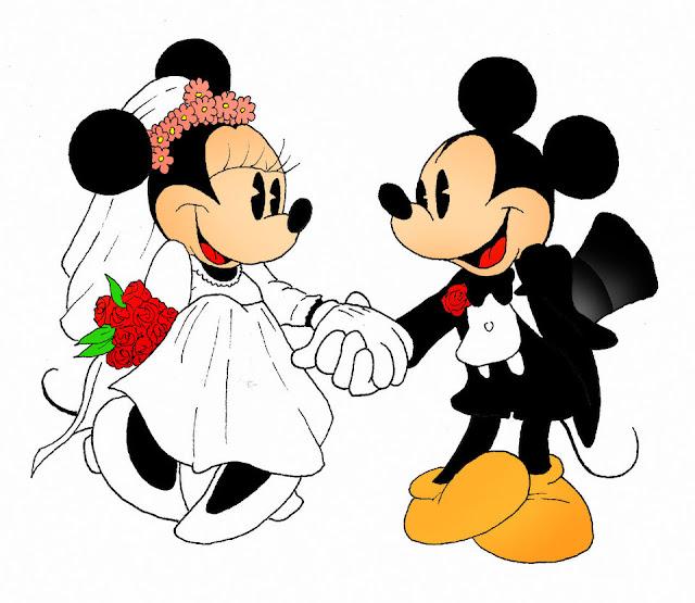 Desenho Minnie Mickey se casando colorido