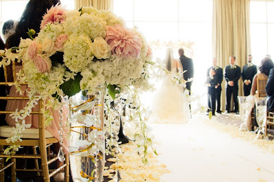 wedding arch, blush wedding flowers, crystal strands, Four Seasons, Seattle wedding, Flora Nova Design