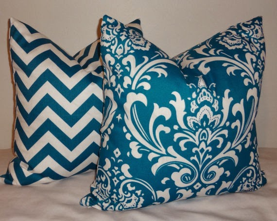 Teal chevron and damask