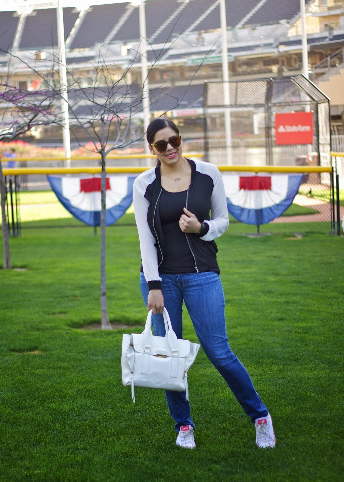 black and white varsity jacket, black and white bomber jacker women, baseball game outfit