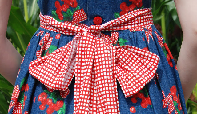 Dotti's, vintage dress with cherries, dress with bow