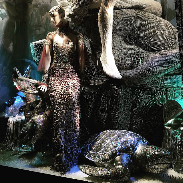 Detail shot of Bergdorf Goodman's Brilliant 2015 holiday windows with over 7 million Swarovski crystals