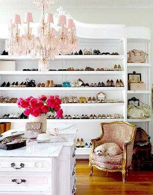Brahler chic walk in closet with pink belle epoque chandelier jpg