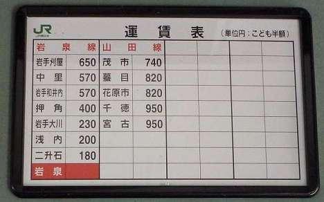 JR東日本 岩泉駅 運賃表