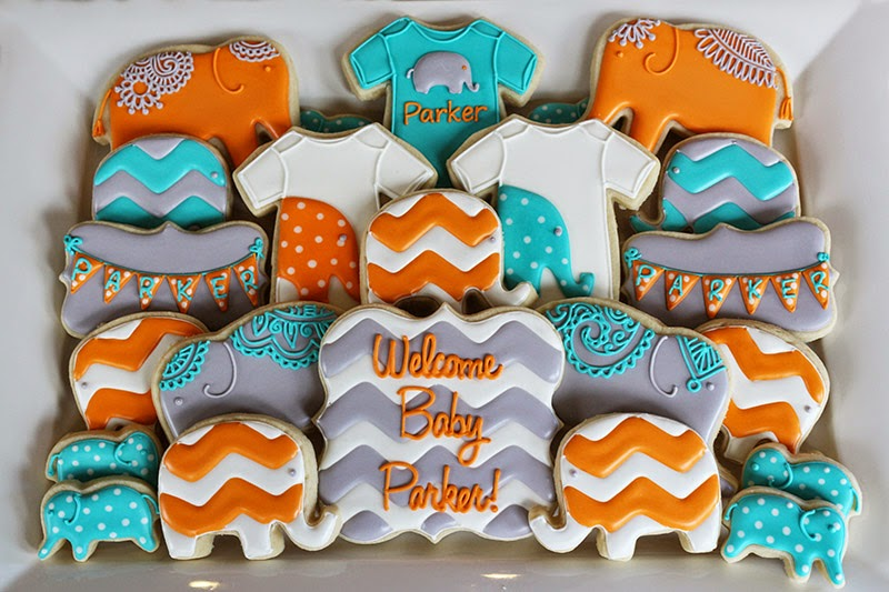 elephant baby shower cookie platter