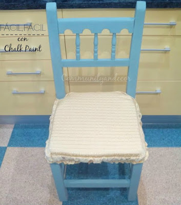 Silla reciclada con autentico chalk paint