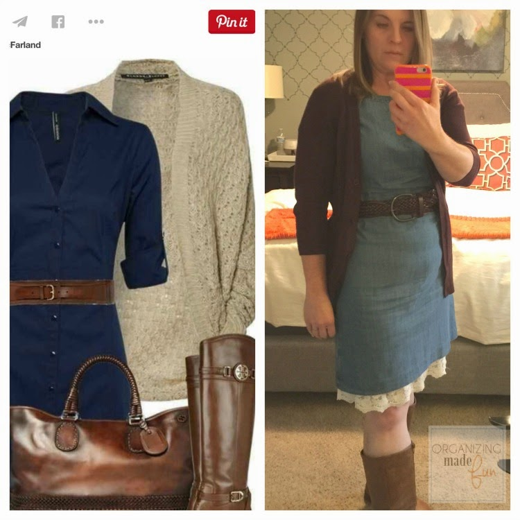 """Fashion Advice"" from an organizing blogger :: OrganizingMadeFun.com -- chambray dress, cardigan, boots"