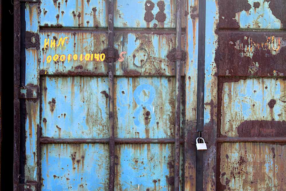blue rusted shipping container - Vladivostok Russia