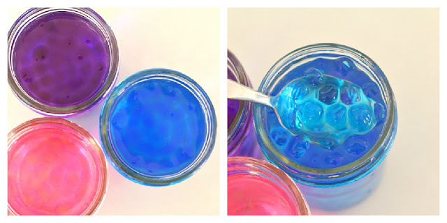 collage showing three jars of colored water beads