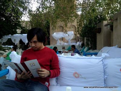Ed reading menu at Arabian Tea House Old Dubai