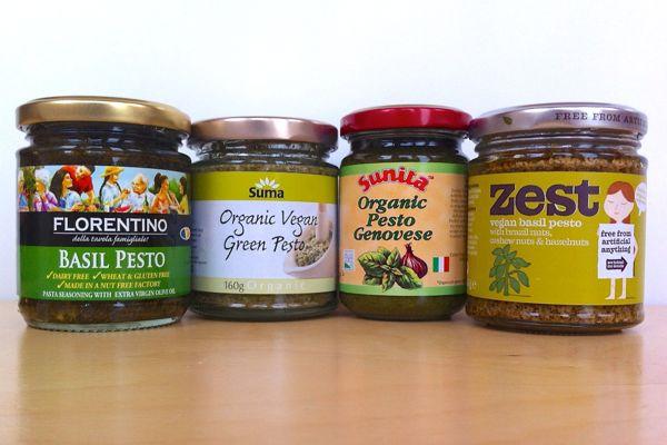 vegan pesto taste test: Florentino, Suma, Sunita, Zest