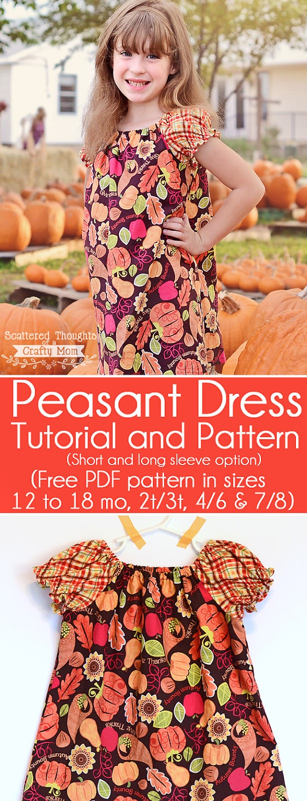 Free Peasant Dress Tutorial and Pattern in sizes 12 months to 8. (Printable pdf pattern)
