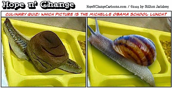 obama, obama jokes, political, humor, cartoon, conservative, hope n' change, hope and change, stilton jarlsberg, school lunch, michelle obama, fish